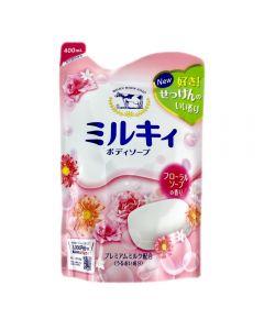 牛乳石鹸 ミルキィボディソープ フローラルソープの香り つめかえ用 400mL